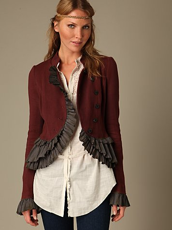 Military Ruffle Jacket :  jacket design military asymmetrical