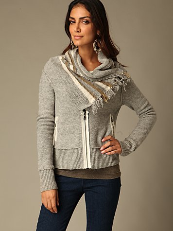 Free People Clothing Boutique > Zip Up Cable Neck Cardigan :  sweater cardigan outerwear