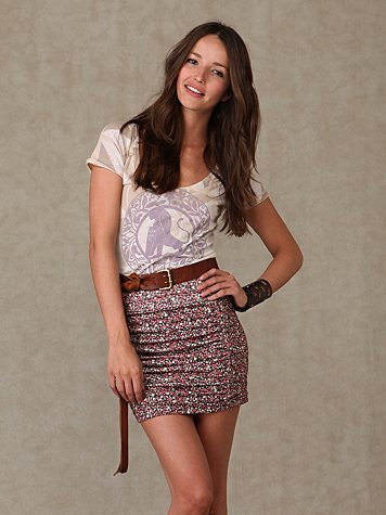 Floral High Waisted Scrunch Skirt
