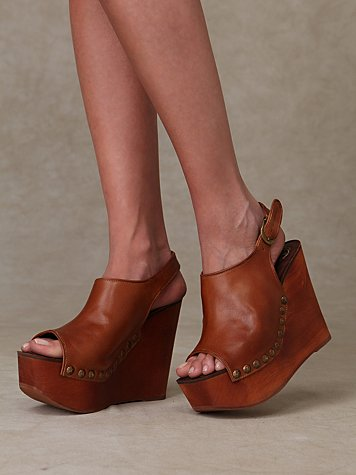 Slingback Wood Platform at Free People Clothing Boutique :  round buckle free people studs womens