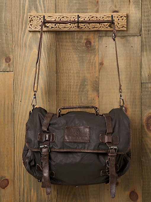 Washed Leather Canvas Messenger Bag