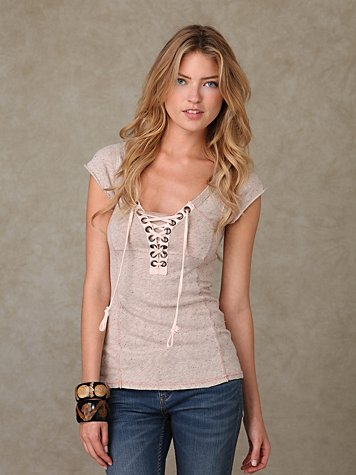 We the Free Lace Up Short Sleeve Top at Free People Clothing Boutique