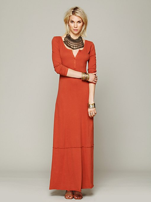 FP Beach Miles of Henley Dress in long-maxi-dresses