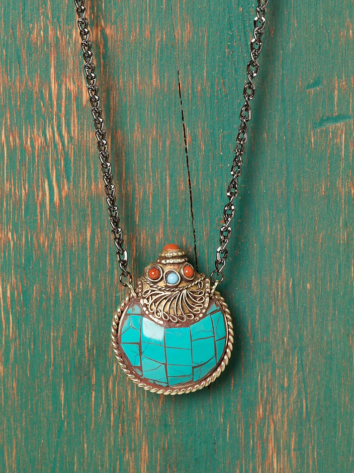 Free People - Egyptian Ornament Pendant :  jewelry necklaces pendant turquoise necklace