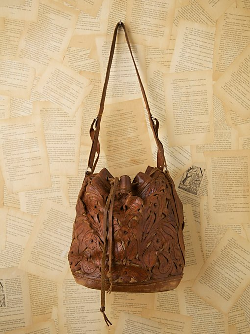 Vintage 1950s Tooled Leather Bag