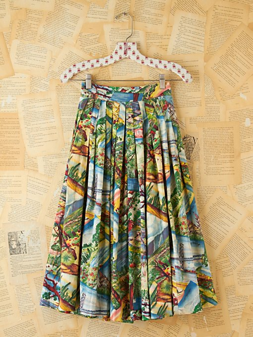 Free People Vintage Printed Souvenir High-Waisted Skirt in Vintage-Clothing