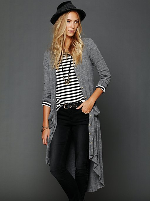 Ribbed Up Maxi Cardigan