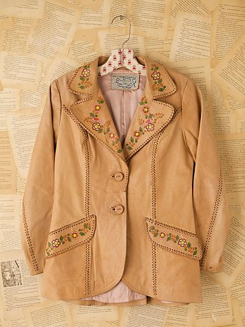 Free People Vintage Hand Painted Leather Jacket