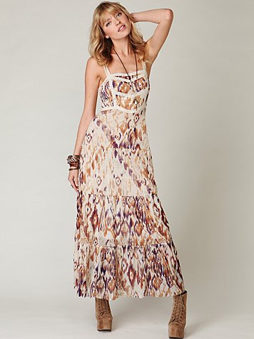 Printed Point d'Esprit Maxi Slip at Free People Clothing Boutique :  layering slips maxi apparel