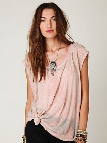 Short Sleeve Floral Jacquard Tee at Free People Clothing Boutique :  tops tees floral top t shirt