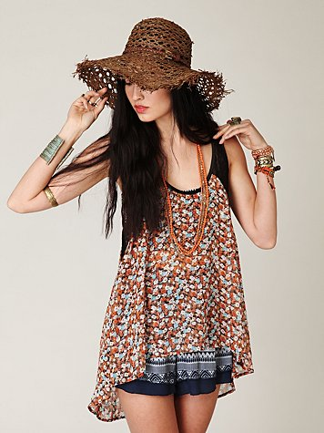 Ditsy Lace Hi-Low Tank at Free People Clothing Boutique :  tops tanks apparel