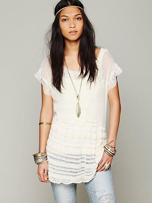 Free People Phoenix Sweater Tunic in sheer-blouses