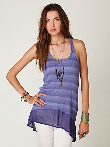 Striped Ribbed Chiffon High-Lo Tank
