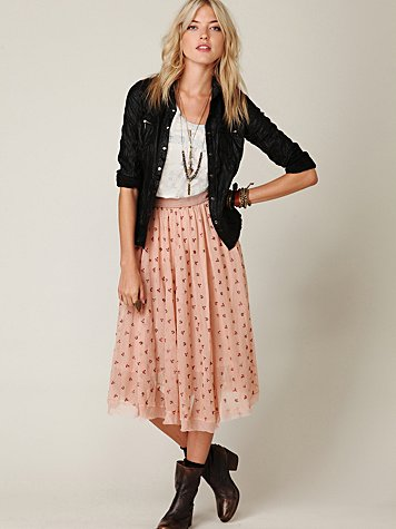 FP New Romantics Mesh Embroidered Tea Length Skirt