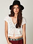 Scalloped Lace Button Down Crop Top