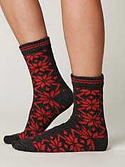 Poinsettia Boot Sock
