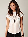 Seamless Short Sleeve Mockneck Top