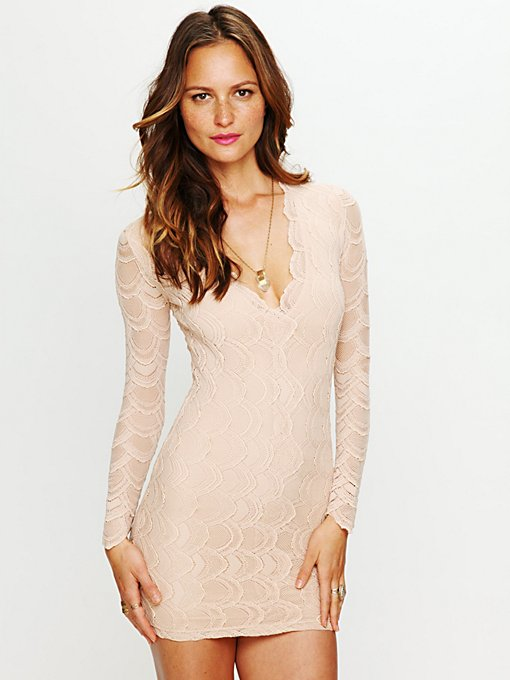 Nightcap Deep V Long Sleeve Lace Dress in designer-brand-clothing