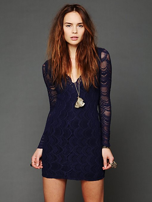 Deep V Long Sleeve Lace Dress