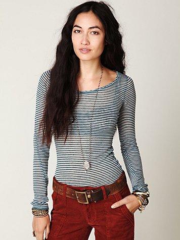 Intimately Free People Striped Burnout Top