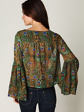 Peacock Crop Bell Sleeve Top