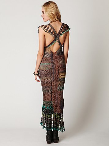 FP Spun Fools Gold Crochet Dress