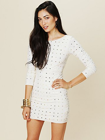 Free People Long Sleeve Embellished Party Dress