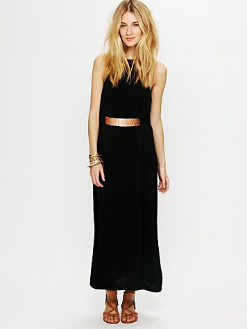 High Neck Belted Maxi Dress