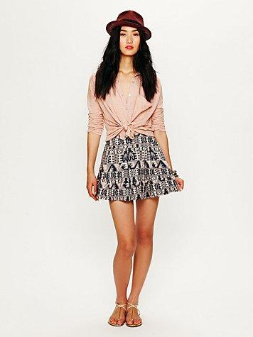 Pleated Structured Mini Skirt