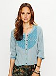 Chambray with Lace Bib Top