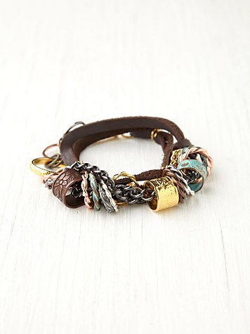 Mix Metal and Leather Wrap