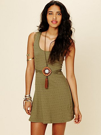 Solid Texture Fit and Flare Dress