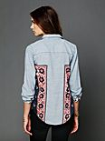 Chambray Bandana Inset Buttondown Top
