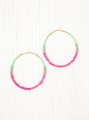 Free People Neon Tatty Wrapped Hoops