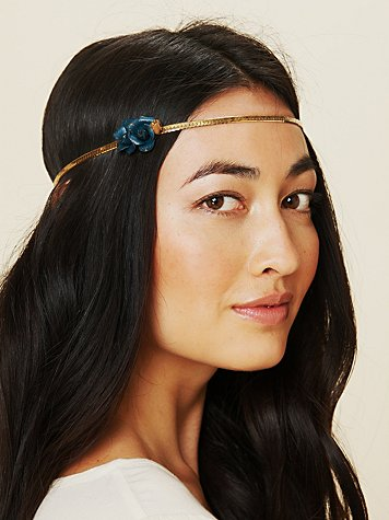 Leather Rose Metal Chain Headband