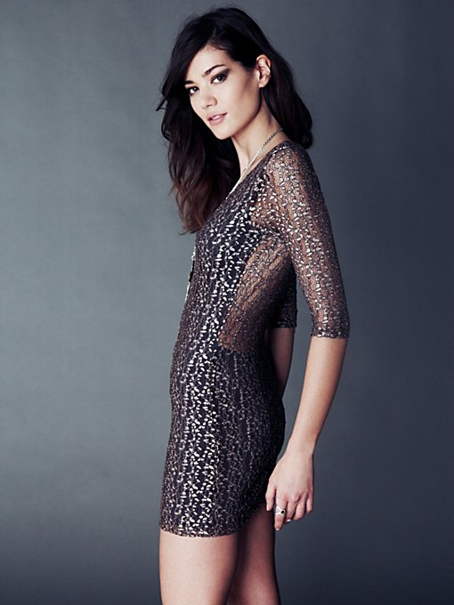 Cheetah Lace Deep V Dress