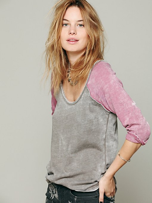 Free People We The Free Long Sleeve Cotton Candy Burnout Top in knit-tops