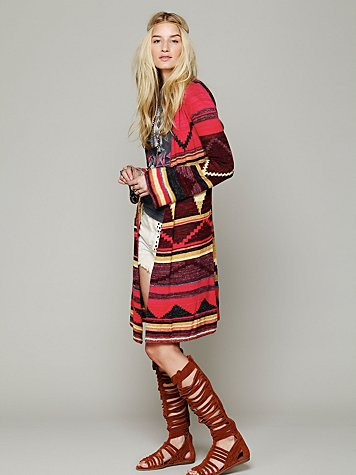 Free People Long Pattern Hooded Cardigan