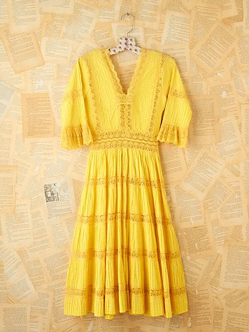 Free People Vintage 1950s Yellow Pleated Maxi Dress
