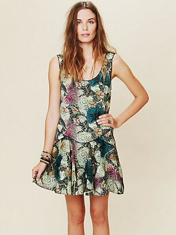 Free People Printed Dropwaist Shapeless Dress