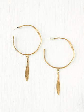 K/LLER COLLECTION Brass Distressed Hoop Earrings