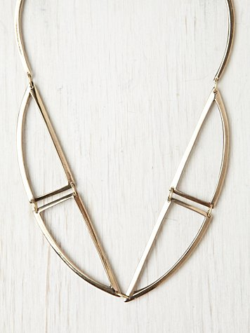 Annie Costello Brown Bentuk V Bronze Necklace