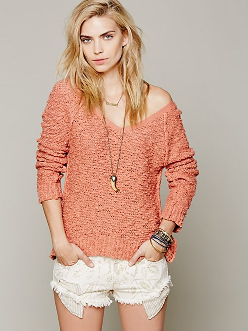 Free People Shaggy Knit Pullover in tunic-sweaters