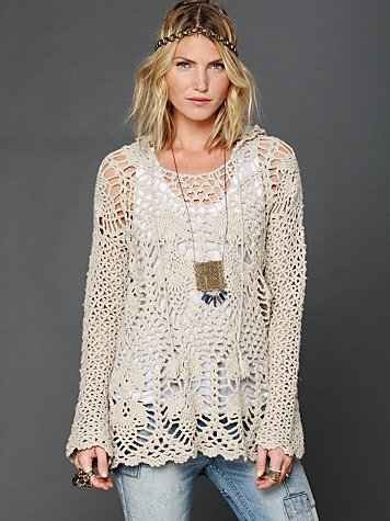Free People Crochet Speckled Hoodie