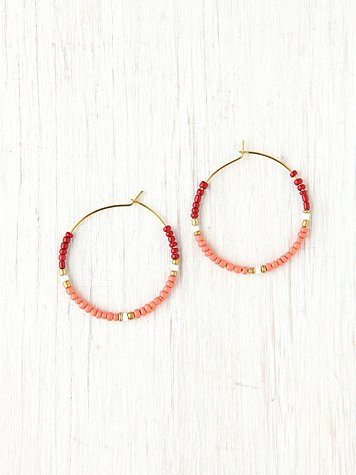 Free People Beaded Small Hoop Earrings