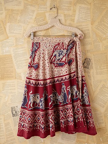 Free People Vintage Batik Printed Wrap Skirt