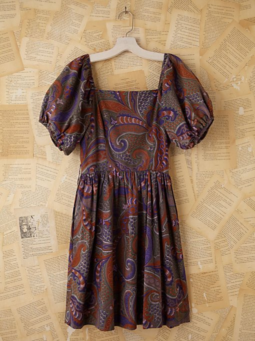 Vintage Batik Printed Bubble Sleeve Dress in Vintage-Loves-dresses