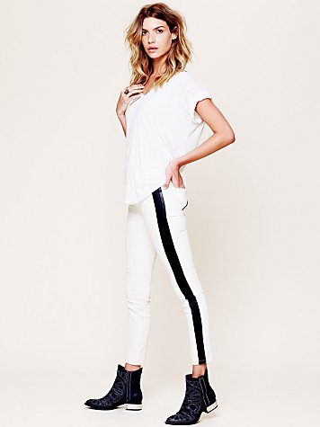 Vegan Leather Trim Skinny