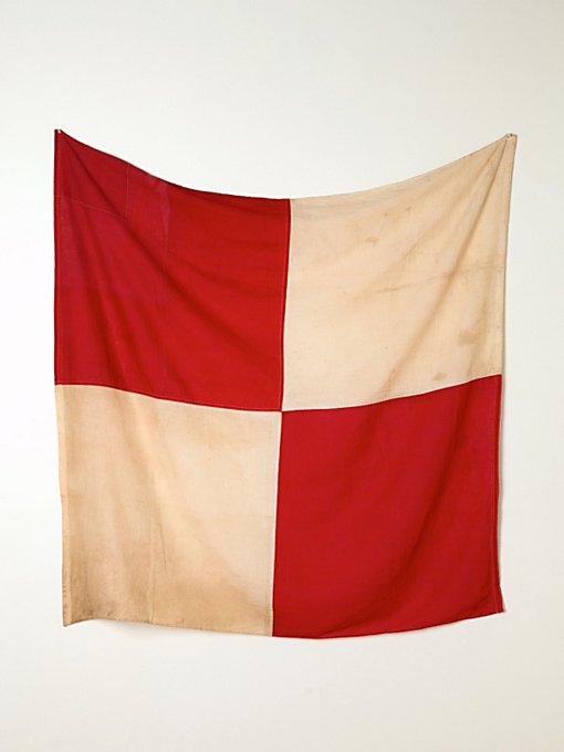 Vintage Red and White Flag in vintage-loves-objects