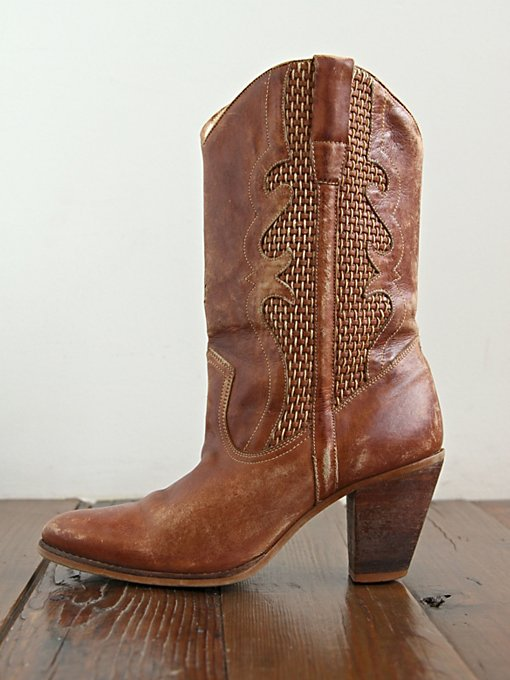Free People Vintage Brown Woven Leather Boots in vintage-shoes